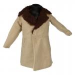 Velvet and Fur Coat (Beige)