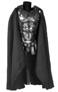 Worn Diecast Imperial Centurion Body Armor with Velvet Cape (Silver)