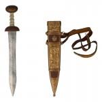 Glaive Gladio en métal avec fourreau (Gris)