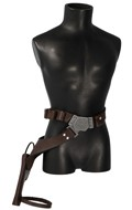 Leather Belt with Pouches and Holster (Brown)