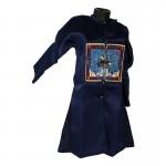 Tunique d'Officier de la Dynastie Qing en satin (Bleu)