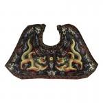 Châle de robe de cérémonie Python d'Officier de la Dynastie Qing en satin (Noir)