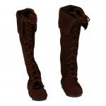 Velvet Female Medieval Boots (Brown)