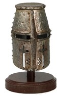 Worn Diecast Jihad Helmet Of Faith with Display Stand (Grey)