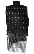 Leather Heavy Armored Guard Knight Body Armor with Diecast Chain Mail Skirt (Brown)