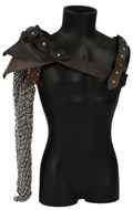 Diecast Arm Chain Mail with Leather Shoulder Pad (Silver)