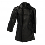 Leather Tank Crewman Pea Jacket (Black)