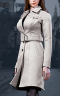 Set Trench Coat Suit Femme (Blanc)