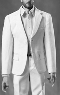 Suit Leisure Gentleman's Narrow Shoulder Set (White)