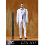 Suit Leisure Gentleman's Narrow Shoulder Set (White)