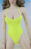 Female Swimming Suit with Beach Hat (Yellow)