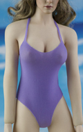 Female Swimming Suit with Beach Hat (Purple)