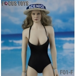Female Swimming Suit with Beach Hat (Black)