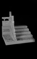 Ancient Steps with Carve Patterns Left Side Diorama (Grey)