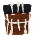 Calf Skin Regulation Backpack Havresac with Blanket (Brown)