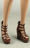 Female Gladiator Wedge Heel Shoes (Marron)