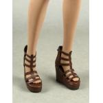 Female Gladiator Wedge Heel Shoes (Marron)