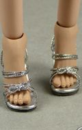Female Strap High Heel Shoes (Silver)