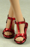Female Strap High Heel Shoes (Red)