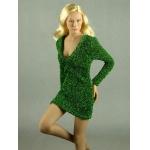 Female Glitter Mini Party Dress (Green)