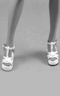 Female Gladiator Wedge Heel Shoes (White)