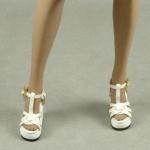 Female Gladiator Wedge Heel Shoes (White)