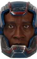 Headsculpt Don Cheadle avec casque Iron Patriot Battle Damaged (Bleu)
