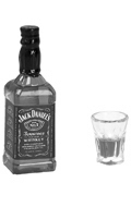 Jack Daniel's Whiskey Bottle with Glass (Orange)