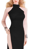 Female Evening Dress Set (Black)