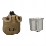 Diecast M1910 Canteen with Cup and Worn Pouch (Silver)