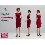 Female Tight Evening Dress Set (Red)