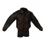 Damaged Worn Leather Flight Jacket (Brown)