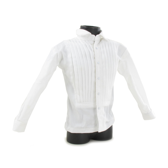 Chemise à plastron plissé (Blanc)